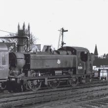 9466 at Leamington Spa with a local service from Gloucester showing the tall safety valve bonnet fitted during the heavy intermediate repairs at Barry works in 1955. Photo by Ray Hinton.