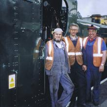 The crew along side 9466 on what proved to be the last run on Steam on the Met. From left to right Rodger Paterson, LUL fleet heritage engineer – Graham Tyler, Fireman – Dennis Howells, Driver. Photographed at Amersham before departure.